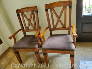 Set of Two Beautiful Oak Cross Back Dining Room Chairs W/Metal Accents