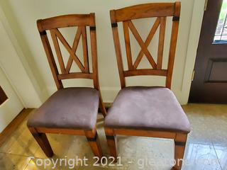 Set Of Two Beautiful Oak Cross Back Dining Room Chairs W/Metal Accents/B