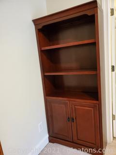 Golden Oak 3 Shelf Bookcase Cherry Wood Dark Finish