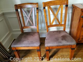 Set Of Two Beautiful Oak Cross Back Dining Room Chairs W/Metal Accents/A