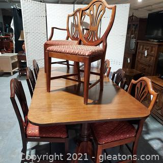 Duncan Phyfte Antique Dining Table with 8 Chairs and table pads