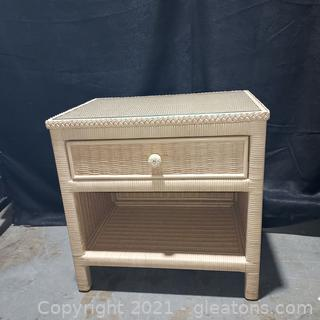 Wicker End Table with Drawer
