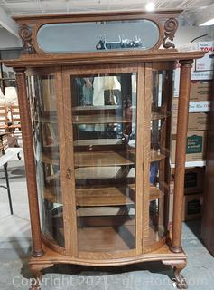 Curved Possible Oak Curio Cabinet