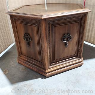 Vintage Hexagon End Table Cabinet