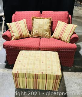 Custom Upholstered Rolled Arm Love Seat and Ottoman