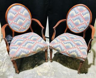 Pair of Oval Back Arm Chairs with Sheraton Legs