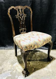 Unique Hand Carved Mahogany Chippendale Ball and Claw Dining Chair