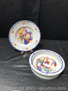 "Tiffany & Co. ""Seashore"" Child's Plate and Bowl"