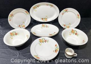 """Mid-Century Homer Laughlin """"Olivia"""" Poppy and Rose 10pc China Collection"""