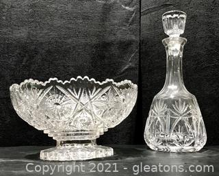 Brilliant Crystal Bowl and Decanter Set