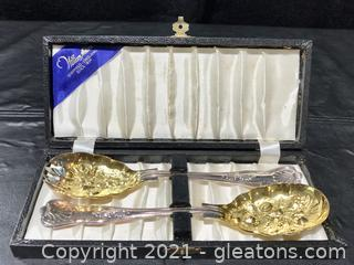 """William Adams Sheffield-England """"Kings"""" 2pc Silver Plate Salad Set with Case"""