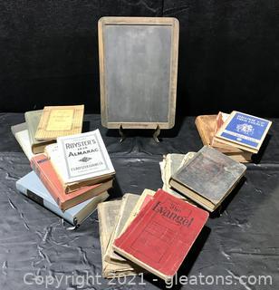 Antique Slate Chalkboard and School Books