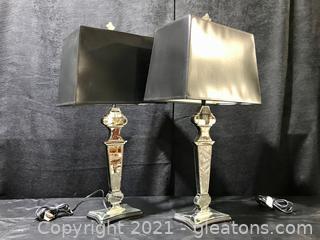 Unique Pair of Venetian Glass Mirrored Lamps