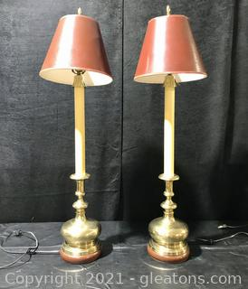 Pair of Frederick Cooper Chicago Tall Brass Buffet Lamps