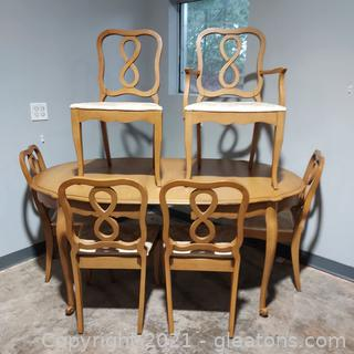 French Country Style Oval Dining Table with 6 Chairs- Matches 2405