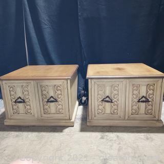 Pair of Unique 2 Door End Tables (matches 2406)