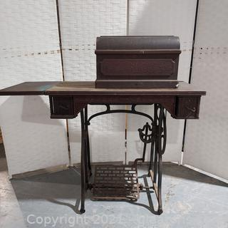 Antique Wheeler and Wilson W9 Treadle Sewing Machine with Cabinet