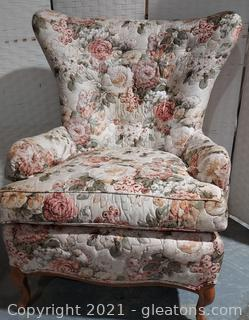 Lovely Floral Highland House of Hickory Wingback Chair
