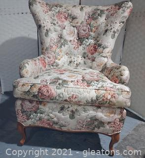 Lovely Floral House of Hickory Wingback Chair