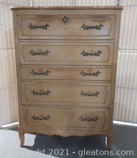 1947 French Provincial 5 Drawer Chest- Purchased From Rhodes Furniture in 1947 (Goes with 2413, 2415, 2417)