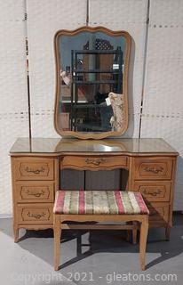 1947 French Provincial 7 Drawer Vanity with Mirror-Vanity Has Protective Glass Top (Goes with 2413, 2414, 2417)