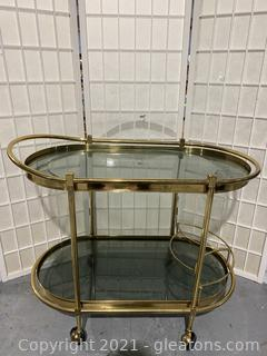 Italian 1950s Curved Brass Bar Cart
