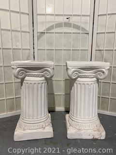 Two White Garden Pedestals