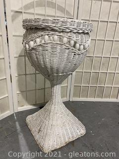 Round Wicker Goblet Shape Planter On Square Base Pedestal