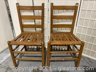 Two Traditional Solid Wood Slat Seat Accent Dining Chairs