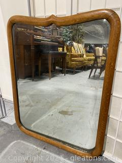 Antique Wooden Wall Accent Mirror