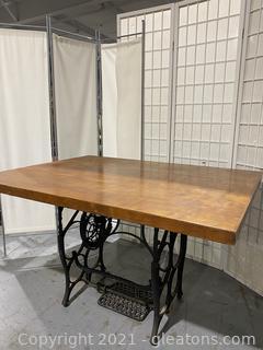 Repurposed Antique Cast Iron Treadle Sewing Machine Table