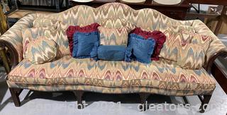 Chippendale Style Upholstered Mahogany Camelback Sofa