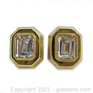 Nice 14kt Yellow Gold CZ Stud Earrings