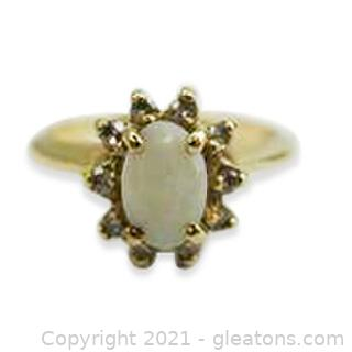 Pretty Opal and Diamond Ring in 14kt Yellow Gold