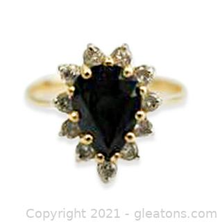 Classic Sapphire and Diamond Ring in 14kt Yellow Gold