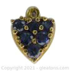 Sapphire Heart Pendant in 14kt Yellow Gold