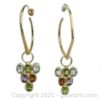 Unique Multi Gemstone Dangle Earrings in 14kt Yellow Gold