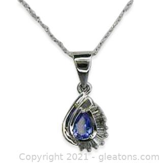 Pretty Tanzanite & Diamond Necklace in 14kt White Gold