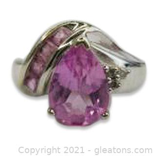 Imitation Pink Sapphire and Diamond Ring in 10kt White Gold