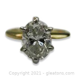 Gorgeous Appraised 1.32ct Diamond Solitaire Engagement Ring