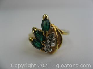Imitation Emerald Gold Electroplated Ring