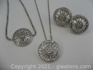 Beautiful CZ Necklace, Earrings & Bracelet Set