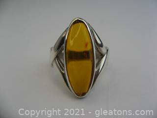 Unique Amber Ring in Sterling Silver