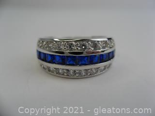 Imitation Sapphire and CZ Band in Sterling Silver