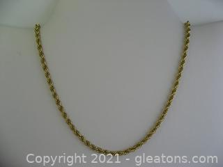 Nice 14kt Yellow Gold Rope Chain