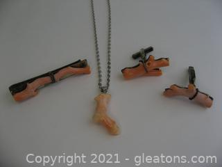 Coral & Sterling Silver Cufflinks, Tie Bar and Necklace Set