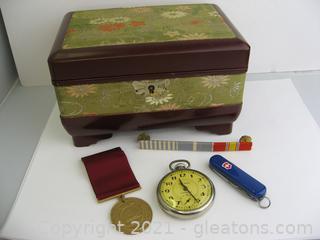 Beautiful Jewelry Box with Pocket Watch & Swiss Army Knife