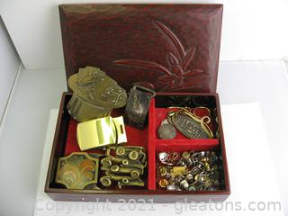 Nice Box Filled with Tie Clips, Pins & Buckles