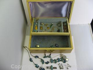Vintage Jewelry Box with Pins, Necklaces and Earrings