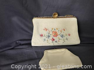 Vintage Dofen Evening bag made in France, beaded and embroidered includes coin purse